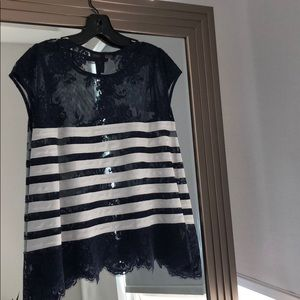 BCBG navy and white striped lace top